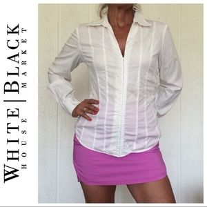 WHBM WHITE COTTON FITTED BLOUSE LARGE